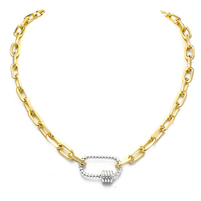 Gold Linked Chain Necklace with Silver Station