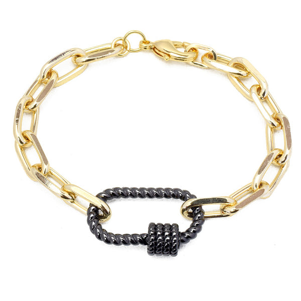 Gold Linked Chain Bracelet with Gunmetal Station