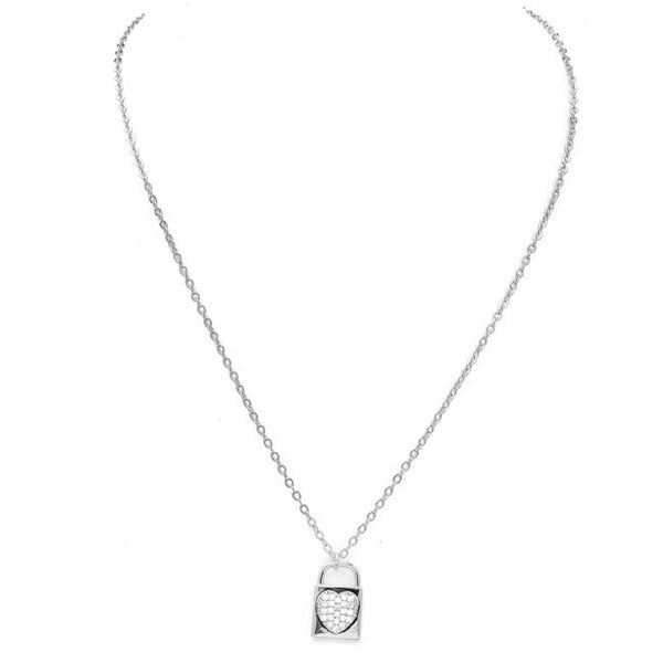 Silver Cubic Zirconia Pave Heart Lock Pendant Necklace