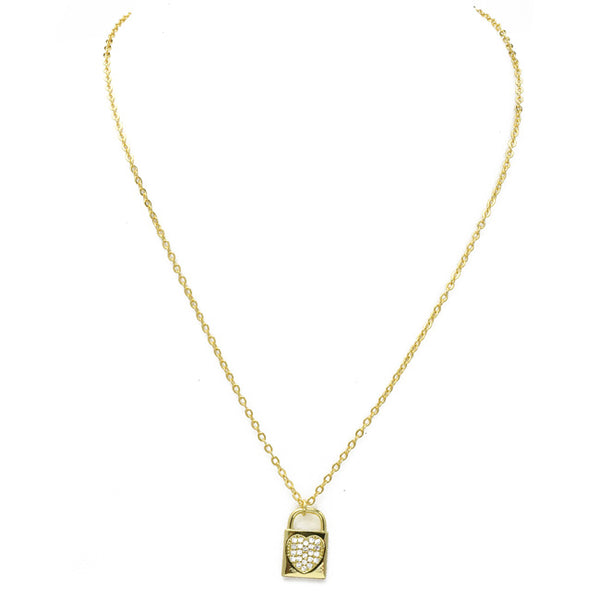 Gold Cubic Zirconia Pave Heart Lock Pendant Necklace