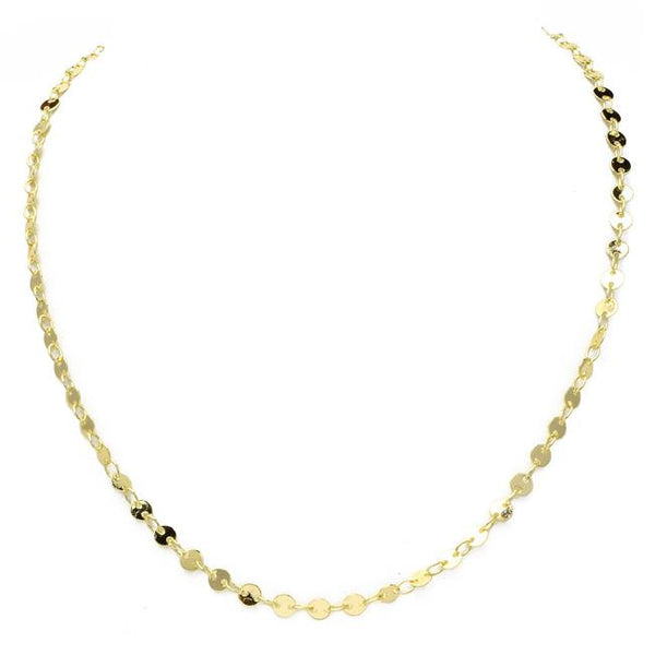 "18"" Gold Plated Disc Chain Necklace"