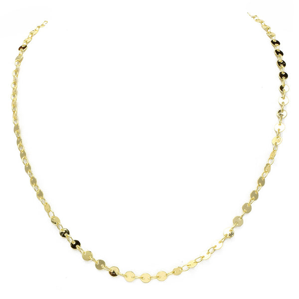 "16"" Gold Plated Disc Chain Necklace"