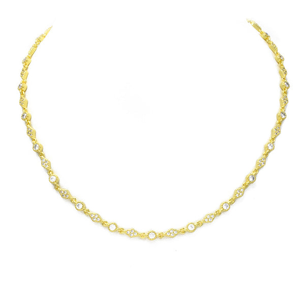 Gold Cubic Zirconia Tennis Necklace