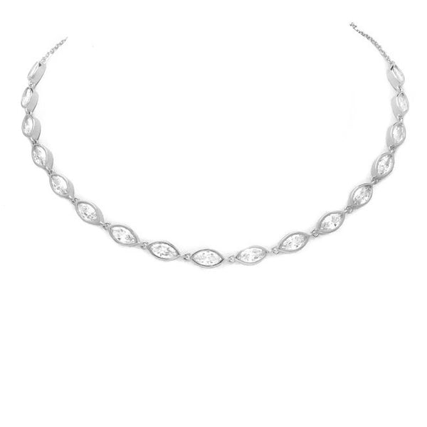 Silver Cubic Zirconia Studded Choker Necklace