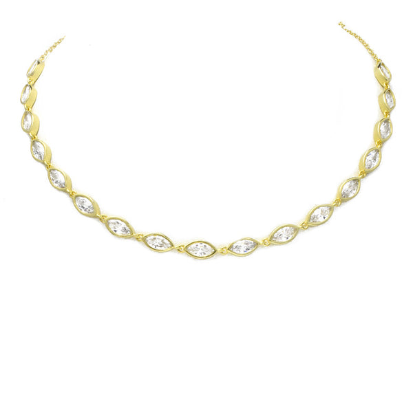Gold Cubic Zirconia Studded Choker Necklace