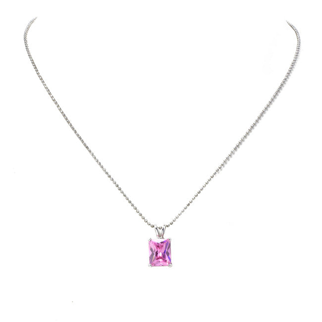 Silver Chain Necklace with Pink Cubic Zirconia Pendant