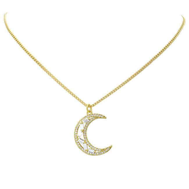 gold filled cz moon necklace