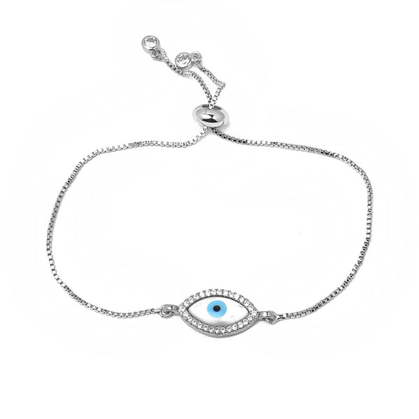 Silver CZ Evil Eye Pull Tie Adjustable Bracelet