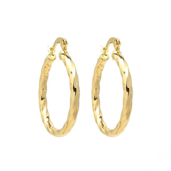 Gold Filled Hollow Hoop Earrings