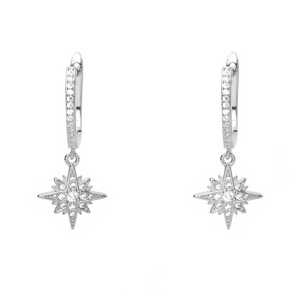 Silver Cubic Zirconia Starburst Dangle Earring