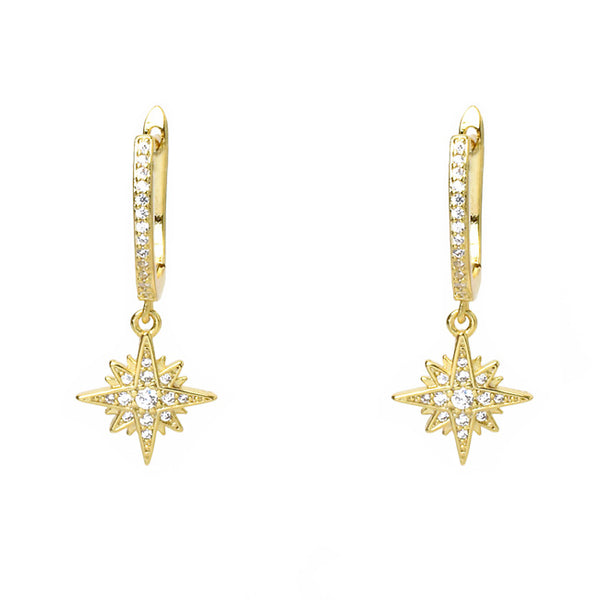 Gold Cubic Zirconia Starburst Dangle Earring