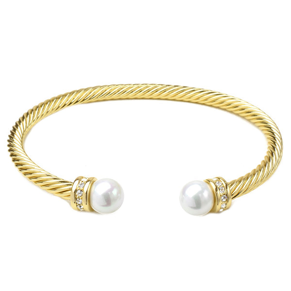 Gold Twisted Cable Cubic Zirconia & Pearl Open Cuff Bracelet