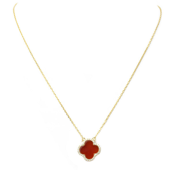 Sterling Silver Gold Plated Clover Necklace Adorned with Cubic Zirconia