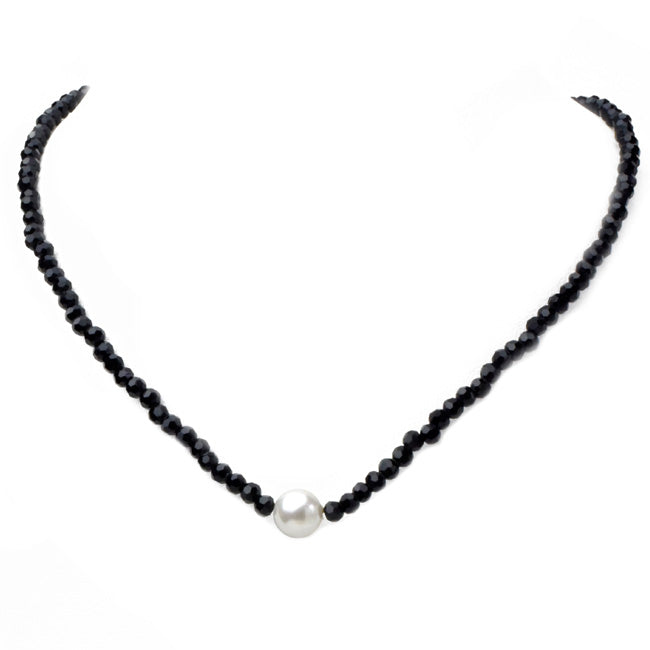 Crystal Beaded Choker Necklace with Pearl