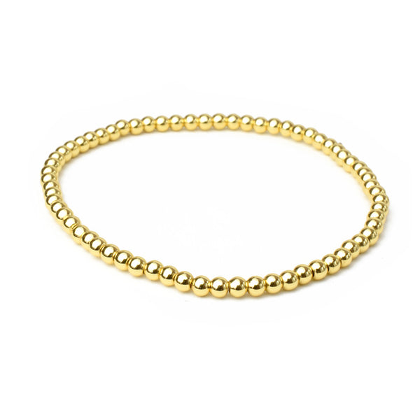Gold Brass Beaded Stretch Bracelet