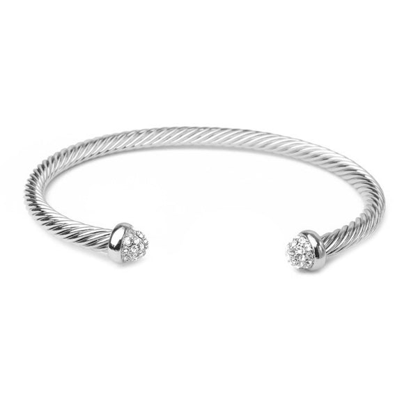 Silver Twisted Cable Cubic Zirconia Open Cuff Bracelet