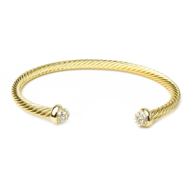 Gold Twisted Cable Cubic Zirconia Open Cuff Bracelet