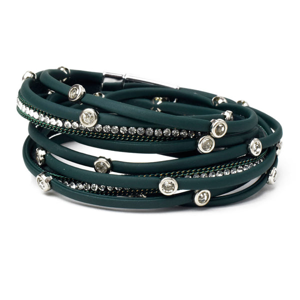 Green Vegan Leather Wrap Bracelet with Crystals