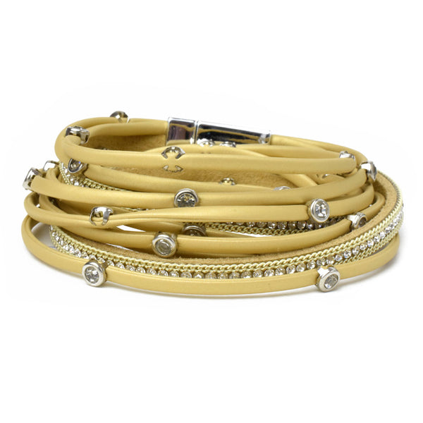 Mustard Vegan Leather Wrap Bracelet with Crystals