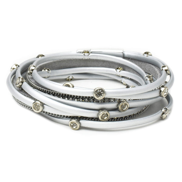 Silver Vegan Leather Wrap Bracelet with Crystals