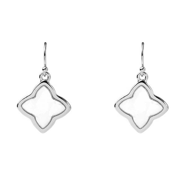 Silver Mother of Clover Dangle Earrings
