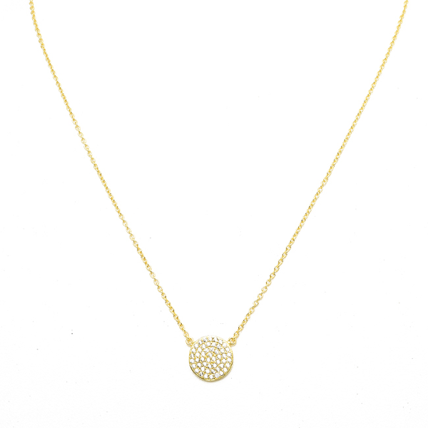 Sterling Silver Gold Plated Pave Disc Necklace