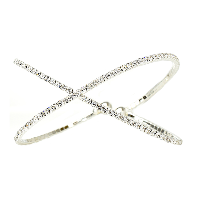 Silver X Shaped Crystal  Wire Cuff Bracelet