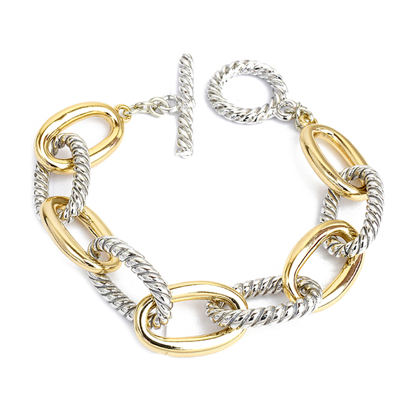 Two Tone Linked Chain Toggle Bracelet