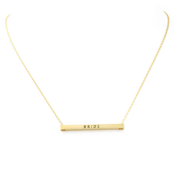 Gold BRIDE Inspirational Pendant Necklace