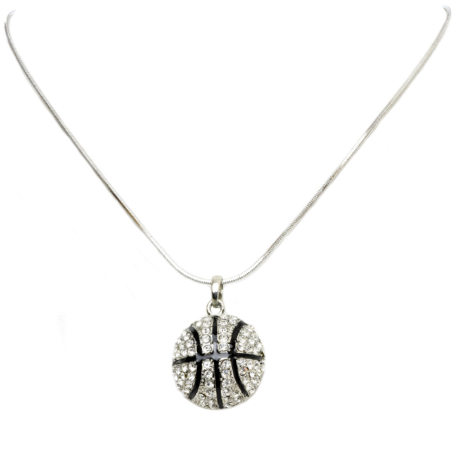 Silver Tone Necklace with Crystal Basketball Pendant