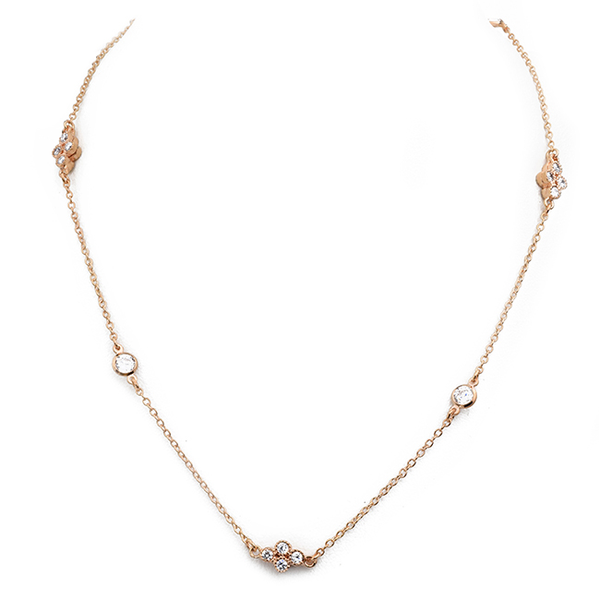 Rose Gold Cubic Zirconia with Flower Charm Necklace