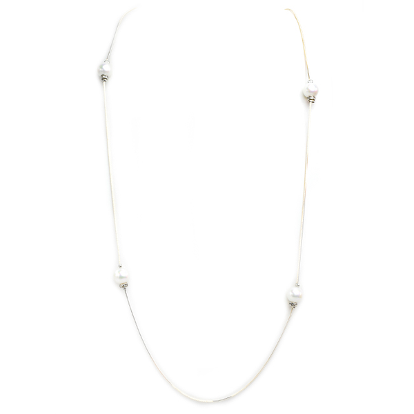 Silver Chain Necklace with Pearl and Crystal Stations