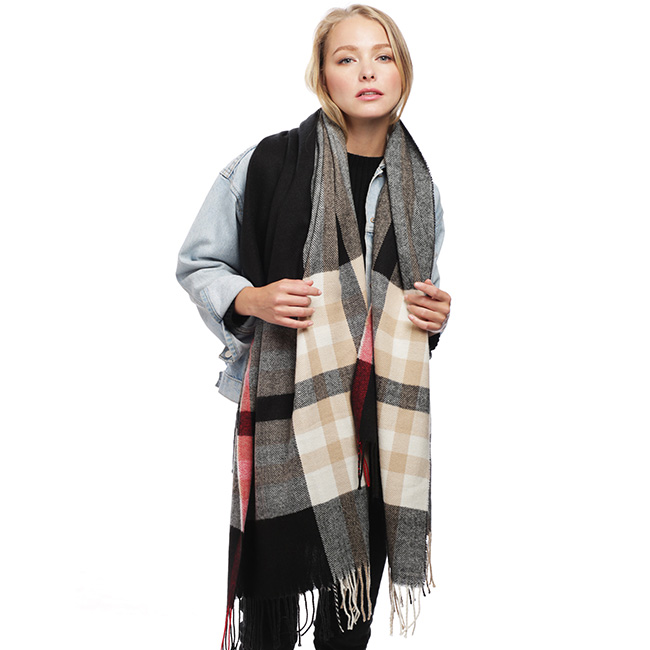 Plaid Check Scarf with Fringe