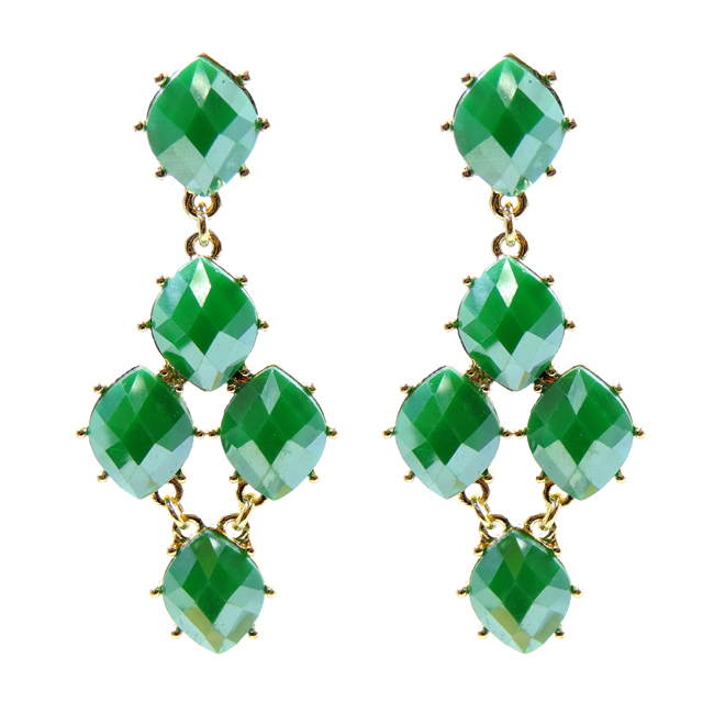 Gold and Emerald Green Metallic Stone Earrings