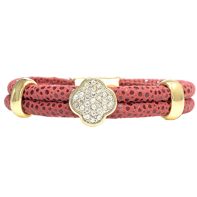 Leather Magnetic Bracelet with Flower Pave Center