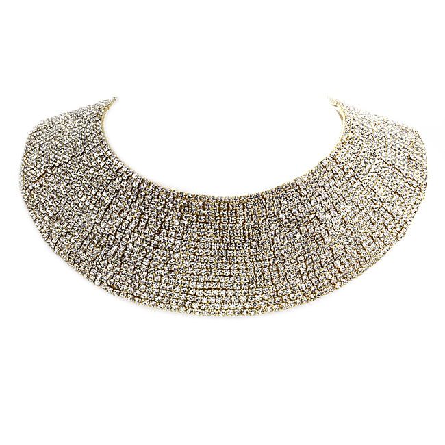 Gold Crystal Studded Collar Necklace
