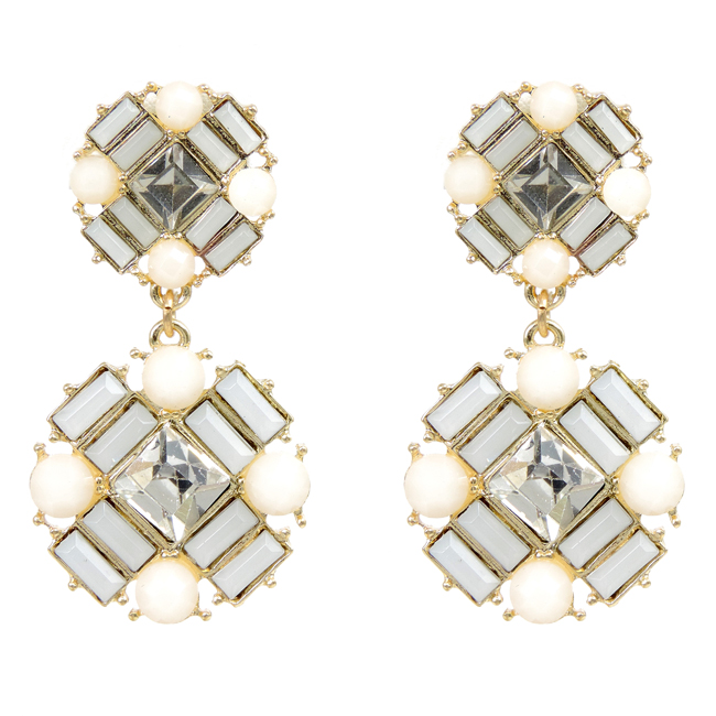 Gold tone with White and Crystal Acrylic Dangle Post Earrings.