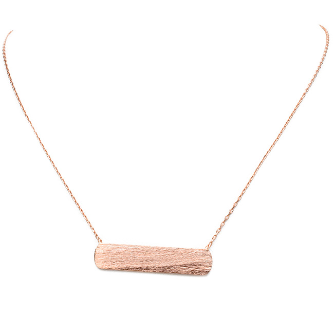 Brushed Rose Gold Rectangle Bar Pendant Necklace