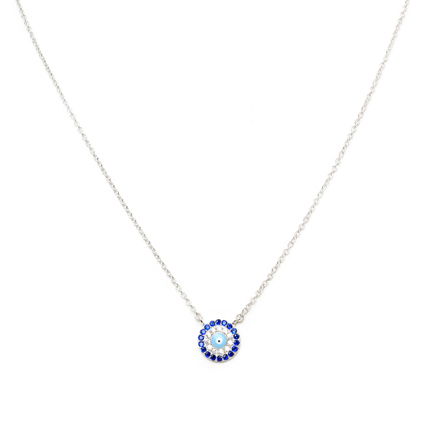 Sterling Silver Cubic Zirconia Evil Eye Pendant Necklace