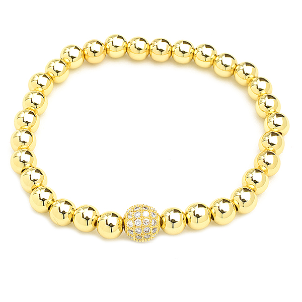 Gold Beaded Cubic Zirconia Plated Stretch Bracelet