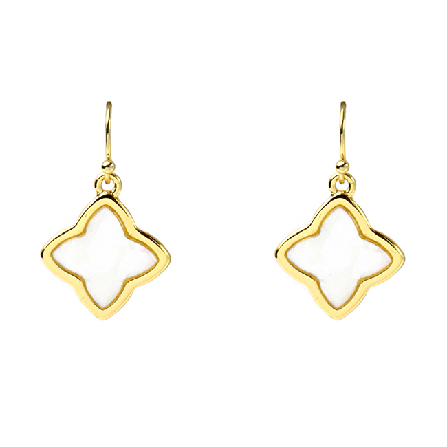Gold Mother of Clover Dangle Earrings