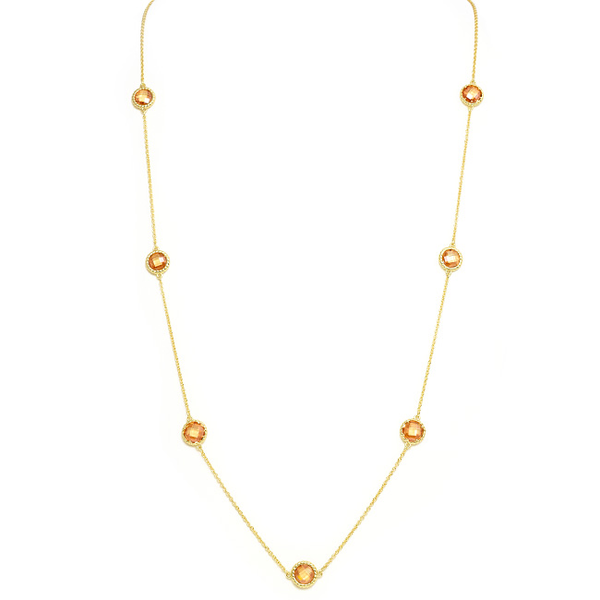 Gold Necklace with Round Cubic Zirconia Topaz Stations