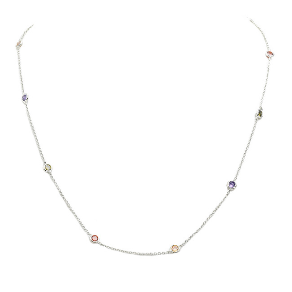 "18"" Silver Multi 4mm Cubic Zirconia Station Necklace"