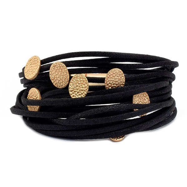 Multi Strand Leather Magnetic Bracelet with Textured Stations