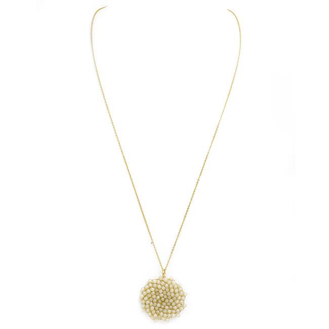 Gold Necklace with Round Crystal Pendant