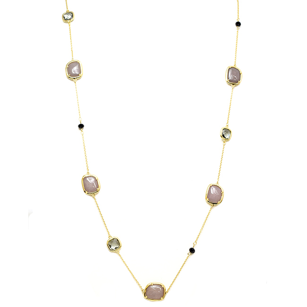 Gold Chain with Semi Precious Stone Stations