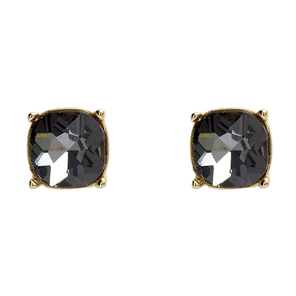 Gold Square Earrings with Black Diamond Crystal