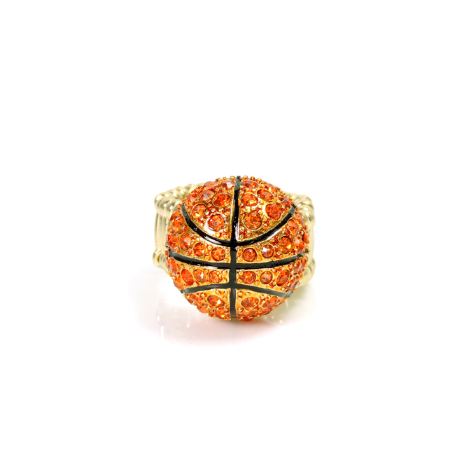 Gold and Crystal Studded Basketball Stretch Ring