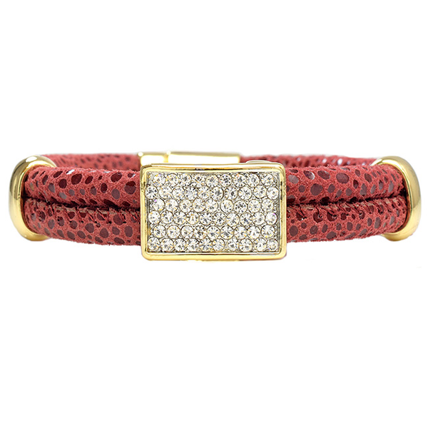 Leather Magnetic Bracelet with Rectangle Pave Center