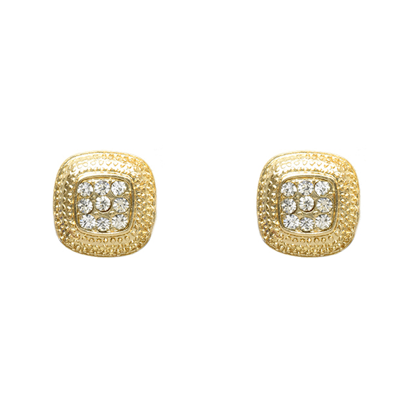 Gold Tone and Clear Crystal Square Post Earrings